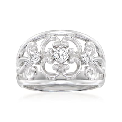 Charles Garnier .27 ct. t.w. CZ Filigree Ring in Sterling Silver