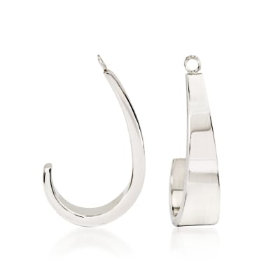 14kt White Gold J-Hoop Earring Jackets