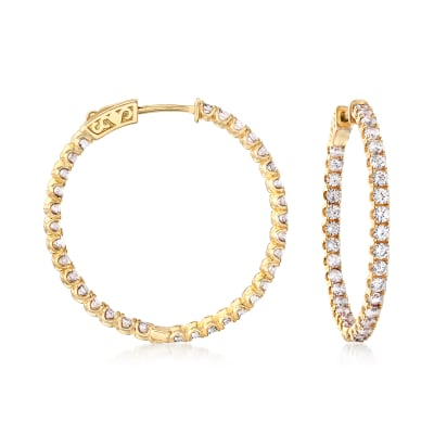 3.63 ct. t.w. CZ Inside-Outside Hoop Earrings in 18kt Gold Over Sterling