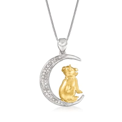 .14 ct. t.w. Diamond Crescent Moon with Dog Pendant Necklace in Sterling Silver and 18kt Gold Over Sterling