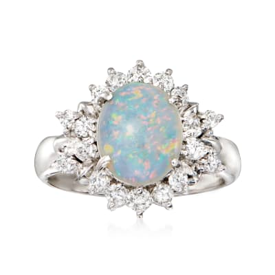 C. 1990 Vintage Opal and .55 ct. t.w. Diamond Ring in Platinum
