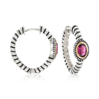2.00 ct. t.w. Rhodolite Garnet Bali-Style Hoop Earrings in 14kt Gold and Sterling Silver