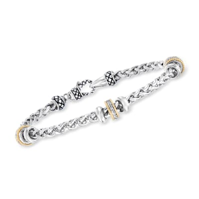 "Andrea Candela ""Espiga"" .12 ct. t.w. Diamond Station Bracelet in Sterling Silver and 18kt Yellow Gold"