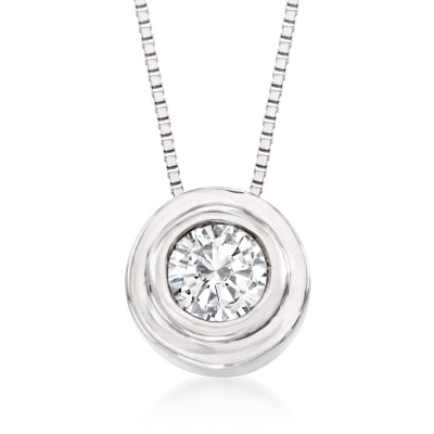 .25 Carat Bezel-Set Diamond Solitaire Necklace in 14kt White Gold