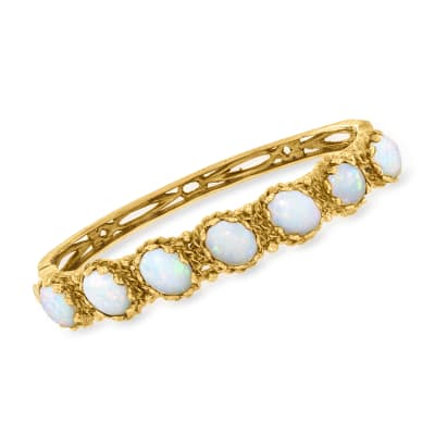 C. 1970 Vintage Opal Bangle Bracelet in 14kt Yellow Gold