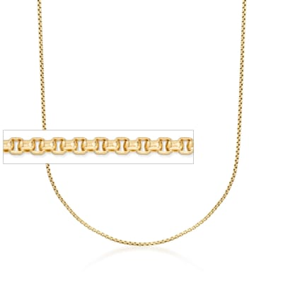 1.7mm 14kt Yellow Gold Rounded Box Chain Necklace