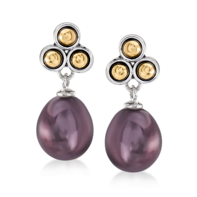 9-9.5mm Black Cultured Pearl Drop Earrings in Sterling Silver with 14kt Yellow Gold