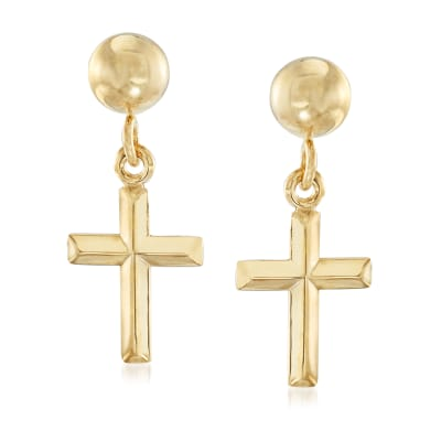 14kt Yellow Gold Small Cross Drop Earrings