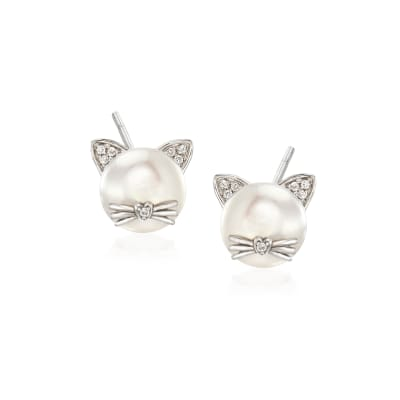 8-8.5mm Cultured Pearl Cat Earrings with Diamond Accents in Sterling Silver