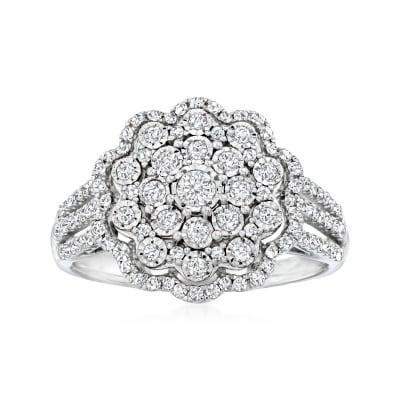 .50 ct. t.w. Diamond Flower Ring in Sterling Silver