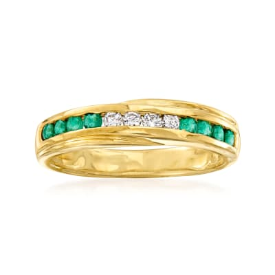 C. 1980 Vintage .35 ct. t.w. Emerald and .16 ct. t.w. Diamond Ring in 18kt Yellow Gold with British Hallmark