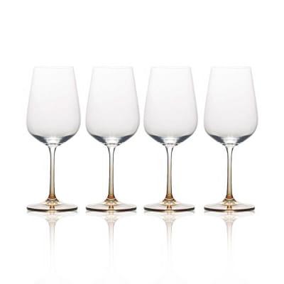 "Mikasa ""Gianna"" Set of 4 Ombre Amber White Wine Glass"