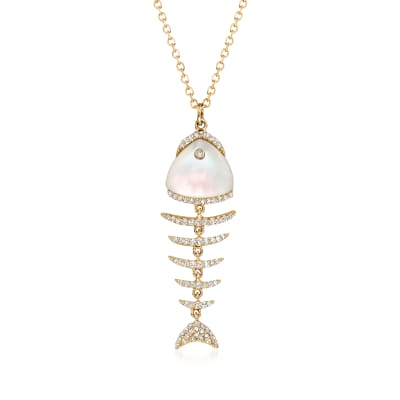 Mother-Of-Pearl and .20 ct. t.w. Diamond Fishbone Pendant Necklace in 14kt Yellow Gold
