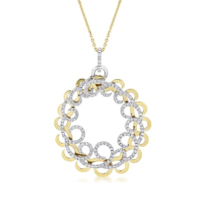 1.41 ct. t.w. Diamond Circle Pendant Necklace in 14kt Two-Tone Gold