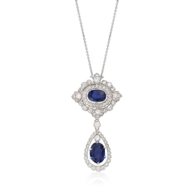 C. 2000 Vintage 4.74 ct. t.w. Sapphire and 1.50 ct. t.w. Diamond Drop Necklace in 18kt White Gold