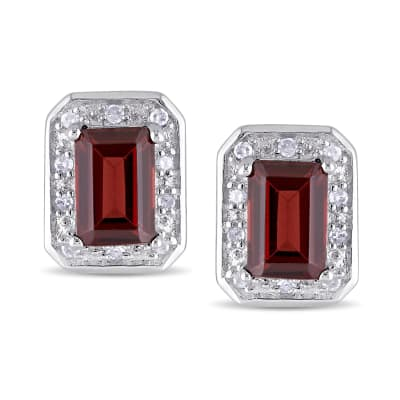 1.50 ct. t.w. Emerald-Cut Garnet Earrings with Diamond Accents in Sterling Silver