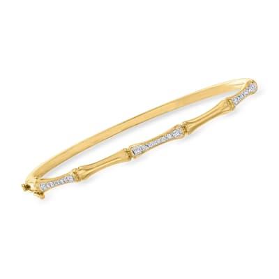 .33 ct. t.w. Diamond Bamboo Bangle Bracelet in 18kt Gold Over Sterling