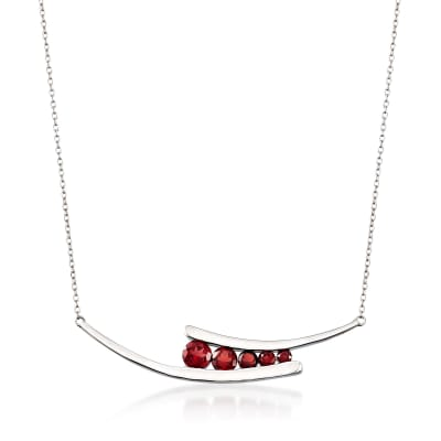1.85 ct. t.w. Garnet Curved Necklace in Sterling Silver