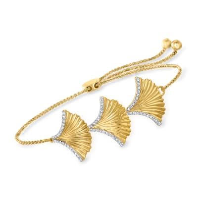 .31 ct. t.w. Diamond Ginko Leaf Bolo Bracelet in 18kt Gold Over Sterling