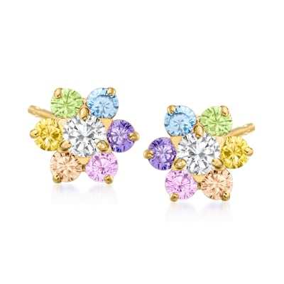 Child's .60 ct. t.w. Multicolored CZ Flower Earrings in 14kt Yellow Gold