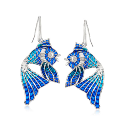 Italian Blue Enamel Fish Drop Earrings in Sterling Silver