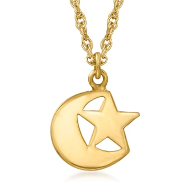 14kt Yellow Gold Star and Crescent Moon Necklace