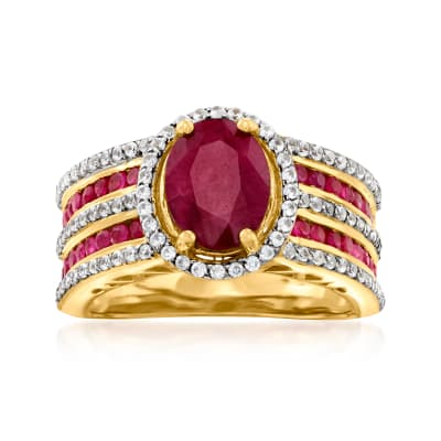 2.80 ct. t.w. Ruby and .70 ct. t.w. White Zircon Ring in 18kt Gold Over Sterling