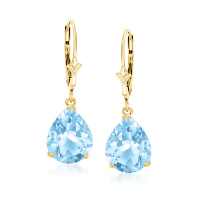 7.50 ct. t.w. Pear-Shaped Sky Blue Topaz Earrings in 14kt Yellow Gold