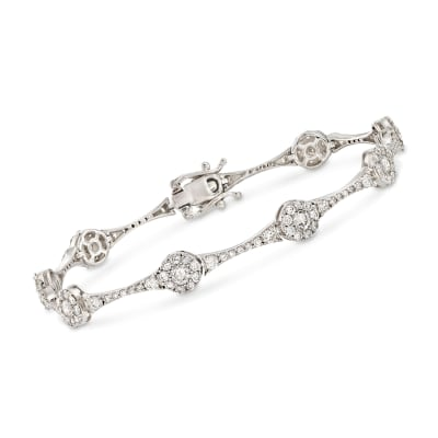4.00 ct. t.w. Diamond Circle Station Link Bracelet in 14kt White Gold