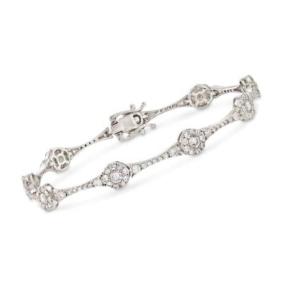 4.00 ct. t.w. Diamond Circle Station Link Bracelet in 14kt White Gold