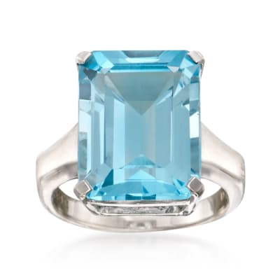14.00 Carat Blue Topaz Ring in Sterling Silver