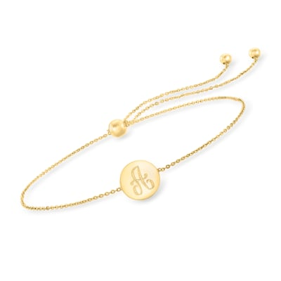 14kt Yellow Gold Single-Initial Disc Bolo Bracelet