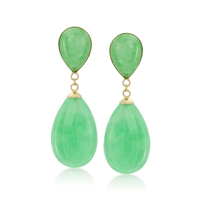 Jade Teardrop Earrings in 14kt Yellow Gold