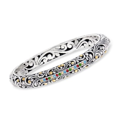 .86 ct. t.w. Multi-Gemstone Balinese Bangle Bracelet in Sterling Silver with 18kt Gold