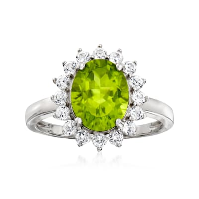 2.40 Carat Peridot and .60 ct. t.w. White Topaz Halo Ring in Sterling Silver