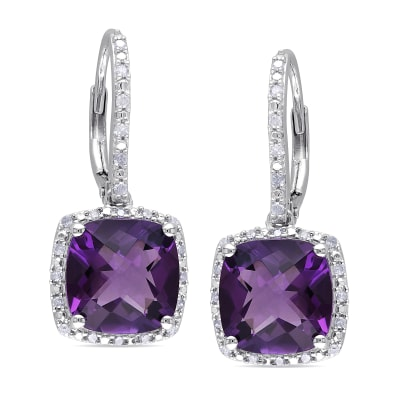 6.00 ct. t.w. Amethyst and .18 ct. t.w. Diamond Drop Earrings in Sterling Silver