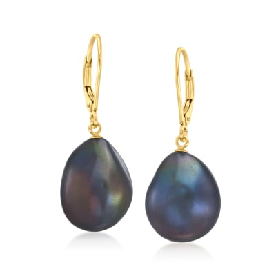 15x12mm Black Cultured Baroque Pearl Drop Earrings with 14kt Yellow Gold