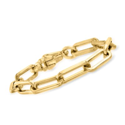 Italian Andiamo 14kt Yellow Gold Over Resin Paper Clip Link Bracelet