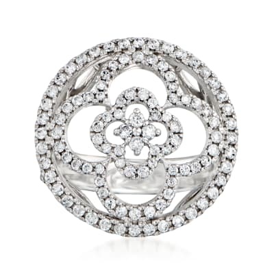 C. 1990 Vintage 1.00 ct. t.w. Diamond Open-Circle Flower Ring in Platinum