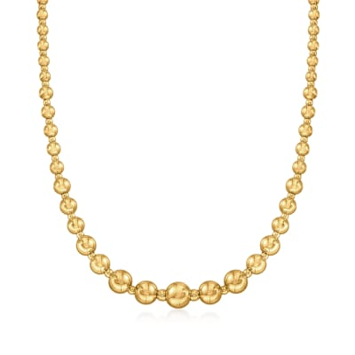 Italian 18kt Yellow Gold Graduated Bead Necklace
