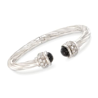 Italian Black Onyx and 1.30 ct. t.w. CZ Twisted Cuff Bracelet in Sterling Silver