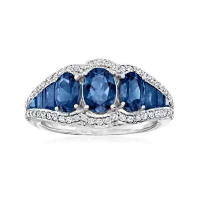 3.60 ct. t.w. Sapphire Three-Stone Ring with .31 ct. t.w. Diamonds in 14kt White Gold