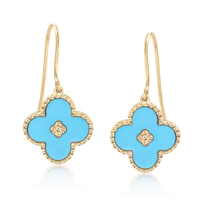 Italian Turquoise Flower Drop Earrings in 14kt Yellow Gold
