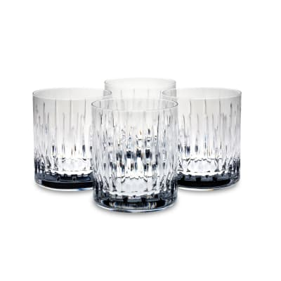 "Reed & Barton ""Soho"" Set of Four Double Old-Fashioned Glasses"