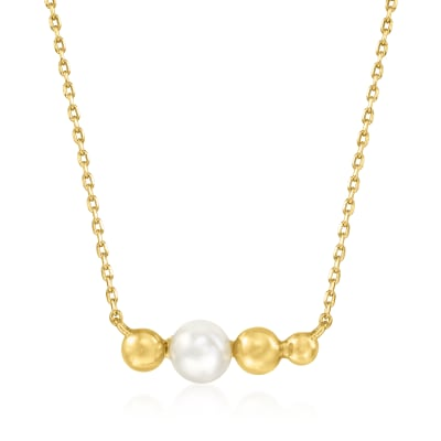 6mm Cultured Pearl Bead Necklace in 18kt Gold Over Sterling