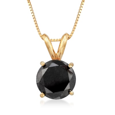 3.00 Carat Black Diamond Solitaire Necklace in 14kt Yellow Gold