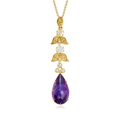 C. 1980 Vintage 6.30 Carat Amethyst, .40 ct. t.w. Moonstone and .10 ct. t.w. Diamond Drop Pendant Necklace in 10kt and 14kt Yellow Gold