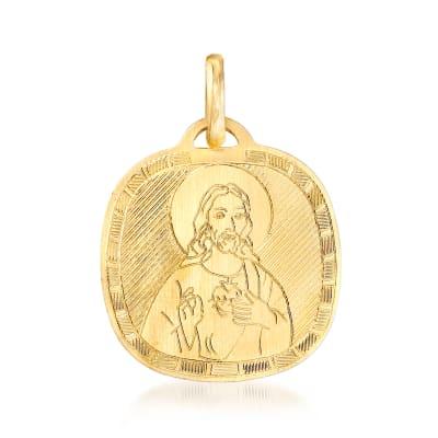 Italian 18kt Yellow Gold Sacred Heart Pendant