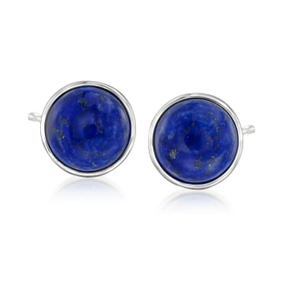 10mm Lapis Stud Earrings in Sterling Silver