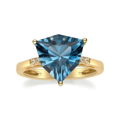 4.10 Carat London Blue Topaz Ring with Diamond Accents in 14kt Yellow Gold